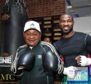 Photos: The Alaafin Of Oyo Trains With Larry, The Boxer In London
